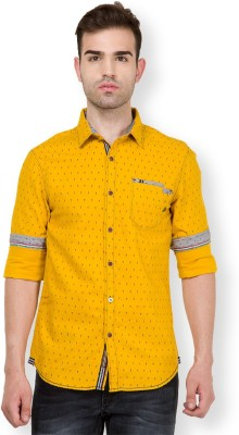 The Indian Garage Co. Men,s Printed Casual Yellow Shirt