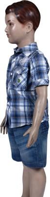 Chutti Pluss Baby Boy's Checkered Casual Grey, Blue Shirt