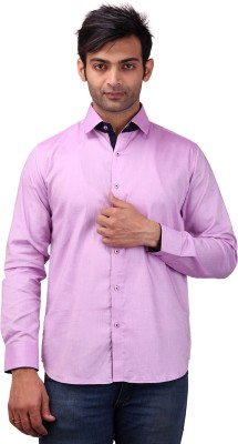 Clubstone Men's Solid Casual Purple Shirt