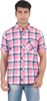 Anytime Men's Checkered Casual Pink Shirt
