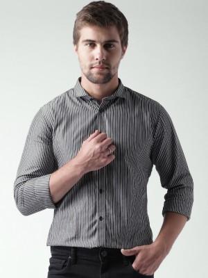 Mast & Harbour Men's Striped Casual Grey Shirt