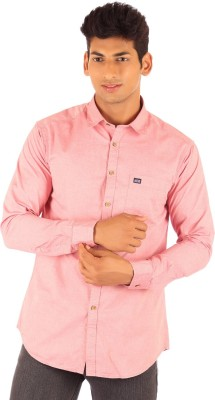 FA French America Men's Solid Casual Pink Shirt