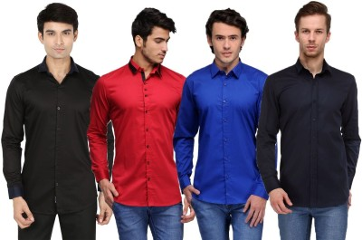 Feed Up Men's Solid Casual Black, Red, Blue, Dark Blue Shirt