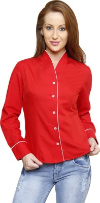 Smile By Nature Women's Solid Casual Red Shirt