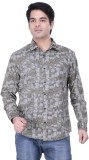 HOH Men's Printed Casual Brown Shirt
