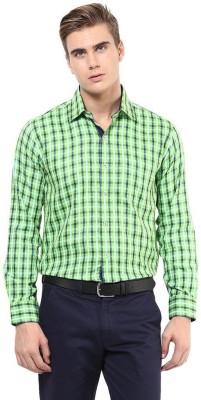 The Vanca Men's Checkered Formal Light Green Shirt