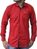 Sambhavs Men's Solid Casual Red Shirt