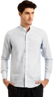 Yell Men's Solid Casual Linen Light Blue Shirt