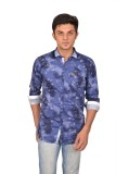 Suzee Men's Printed Casual Blue Shirt