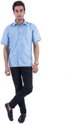 Warrior Men's Solid Casual Light Blue Shirt