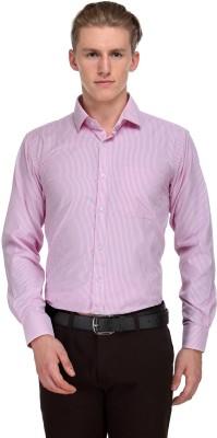 V2k Fashion Men's Striped Formal Pink Shirt
