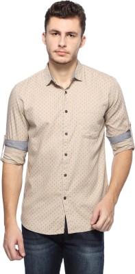 Nature Men's Polka Print Casual Beige Shirt