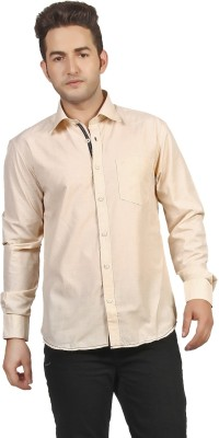 P4 Men's Solid Casual Yellow Shirt