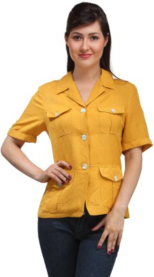 Eves Pret A Porter Women's Solid Casual Linen Yellow Shirt