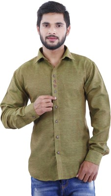 Crocks Club Men's Solid Casual Green Shirt