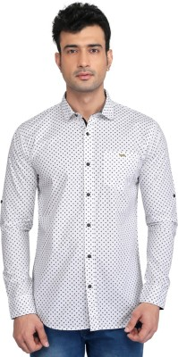Glabrous Men,s Graphic Print Casual White Shirt