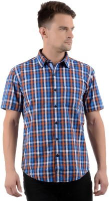 Cairon Men's Checkered Casual Blue Shirt