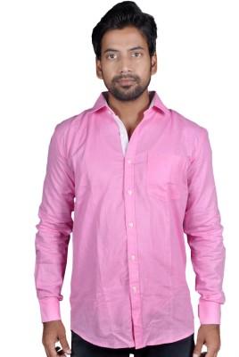 American Fox Men's Solid Casual Linen Pink Shirt