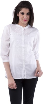 Aarr Women,s Solid Casual White Shirt