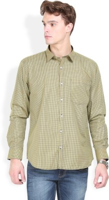 Orange Valley Men's Checkered Casual Brown Shirt