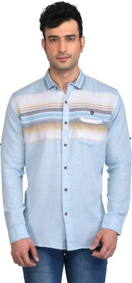 Glabrous Men,s Solid, Striped Casual Light Blue Shirt