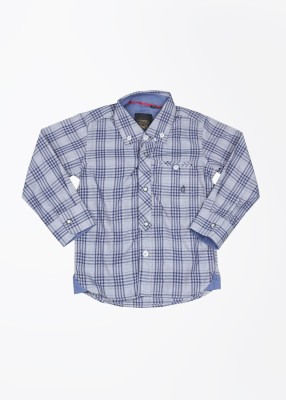 Gini & Jony Boy's Checkered Casual Blue Shirt