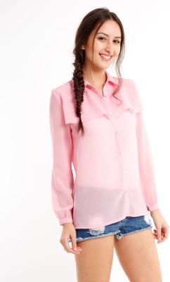 Nun Women's Solid Casual Pink Shirt