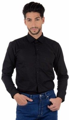 Winsome Deal Men's Solid Formal, Casual Black Shirt
