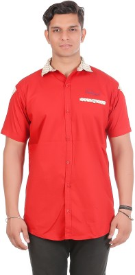 leports Men's Solid Casual Red Shirt