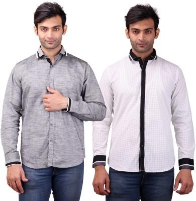 Clubstone Men's Self Design Formal Grey, White Shirt