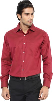 First Row Men's Solid Formal Maroon Shirt