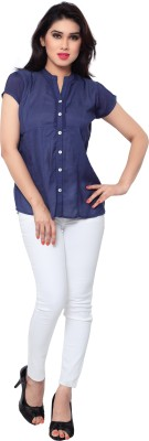 SFDS Women's Solid Casual Blue Shirt