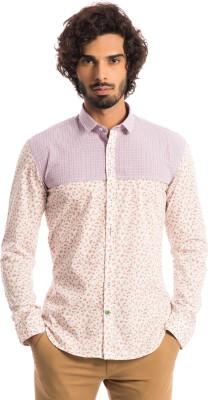 Specimen Men's Floral Print Casual White Shirt