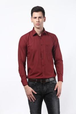 Remo Men's Solid Formal Maroon Shirt