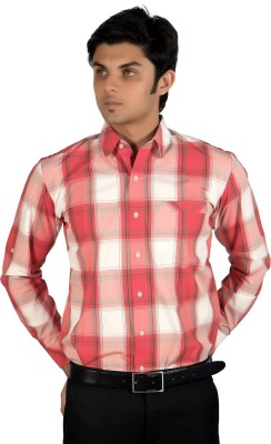 Proactive Men's Checkered Formal Red, White Shirt