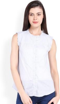 Ten on Ten Women's Striped Casual White, Grey Shirt