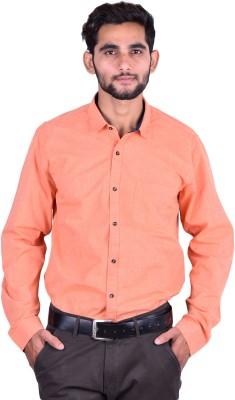 Cortos Men's Solid Formal Orange Shirt