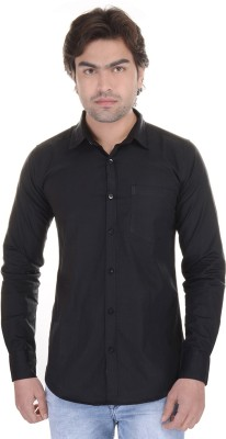 Lee Mark Men's Solid Casual Black Shirt