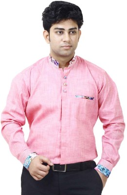 SIERA Men's Solid Casual Linen Pink Shirt