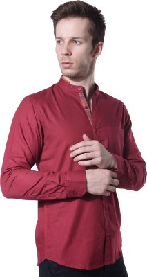 Feelit Men's Solid Casual Red Shirt