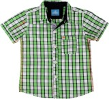 Einstein Boys Checkered Casual Green Shi...