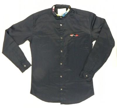 ARCS Agencies Men's Solid Casual Dark Blue Shirt
