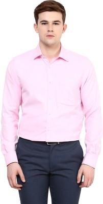London Bridge Men's Solid Formal Pink Shirt