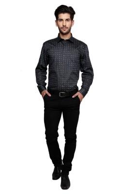Miche Jeffer Men's Printed Formal Dark Blue Shirt
