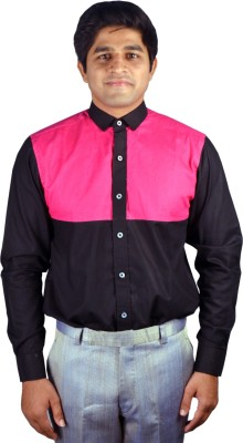 Riverbero Men's Self Design Casual Black Shirt