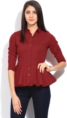 Arrow Women's Solid Formal Red Shirt