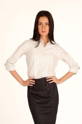 Bombay High Women's Striped Formal Brown Shirt
