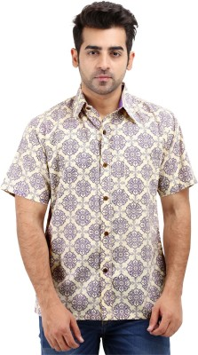 Padmini Negotium Men's Self Design Casual Yellow Shirt