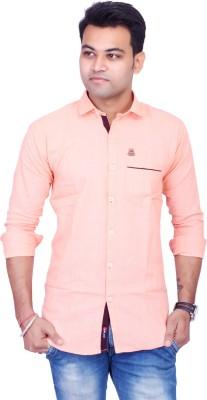 La Milano Men's Solid Casual Orange Shirt
