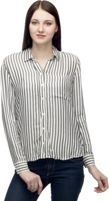 One Femme Women's Striped Formal, Party Black Shirt